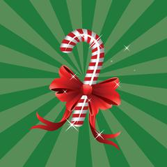 Christmas candy cane with bow - stock illustration