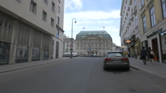 Park Hyatt Hotel seen from Heidenschuß street, Vienna Stock Footage