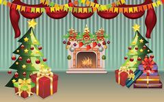Christmas Living Room - stock illustration