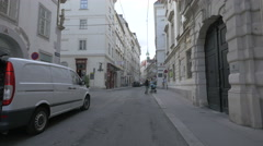 Walking on Singerstraße, passing by La Norma Italian Restaurant, Vienna Stock Footage