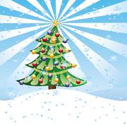 Christmas tree on snow hill - stock illustration