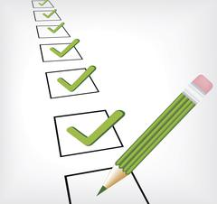Digital illustration of a checklist with green tick marks. - stock illustration