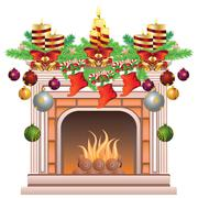 Decorated Christmas Fireplace - stock illustration