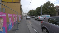Traffic on Prinz Eugen-Straße in Vienna Stock Footage