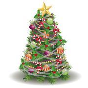Decorated New year tree - stock illustration
