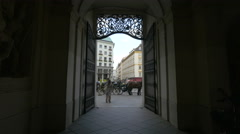 Michaelerplatz seen from a narrow passageway, Vienna Stock Footage