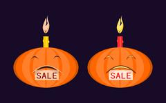 """Halloween pumpkin with burning candle on his head and a tag """"sale"""" in the mouth. Stock Illustration"""