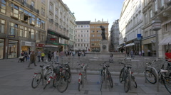 A fountain and sculptures on Graben street in Vienna Stock Footage