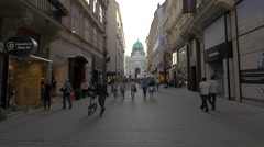 Hofburg Palace seen from Kohlmarkt in Vienna in the afternoon Stock Footage