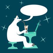 Cartoon polar bear drinking iced coffee and writing to laptop - stock illustration
