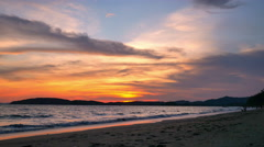 Amazing sunset at the Ao Nang beach, Krabi, Thailand Stock Footage