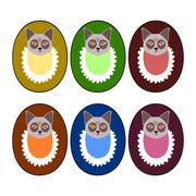 Set of deep colors - puppy heads with bibs - design for goods marking - stock illustration