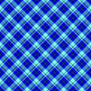 Blue seamless oblique checkered plaid with fabric texture Stock Illustration