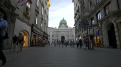 Great view of the Hofburg Palace from Kohlmarkt in Vienna Stock Footage