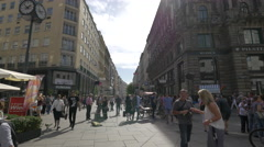 Walking on Kärntner Straße next to the Stephansplatz, Vienna Stock Footage