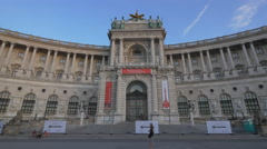 Great view of the Neue Burg section of Hofburg Palace, Vienna Stock Footage