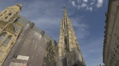 Stephansdom, a Roman Catholic cathedral in the center of Vienna Stock Footage
