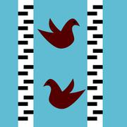 Two red birds flying between the trunks of birch. Flat stylized graphics. - stock illustration