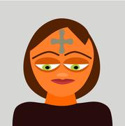 "Character relating to the Christian Catholic Feast ""Ash Wednesday"". Stock Illustration"