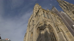 Low angle view of Stephansdom Cathedral in Vienna Stock Footage