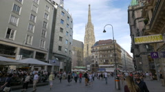 Stephansdom seen from Graben street in Vienna Stock Footage