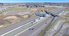 Aerial view of the highway during the day. Stock Footage