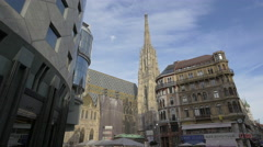 Haas House building, Stephansdom and Hotel Royal seen in Vienna Stock Footage