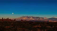 Full Moon Rising above La Sal Mountains Time-lapse 4k Arches National Park - stock footage