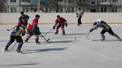 Ice Hockey, the game of regional amateur teams - stock footage