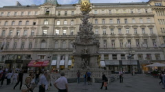 Plague Column - a Holy Trinity column located on the Graben, Vienna Stock Footage