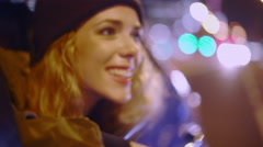 Hipster friends having fun inside a car at night Stock Footage