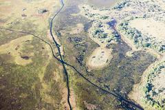 Aerial view of the Okavango Delta outside of Maun, Botswana Stock Photos