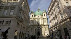 Peterskirche (St. Peter's Church) located in Petersplatz in Vienna Stock Footage