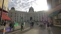 Michaelerplatz seen from Kohlmarkt in Vienna Stock Footage