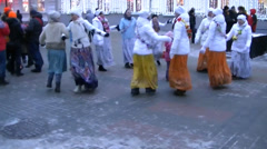 Women dancing and singing Hare Krishna - stock footage