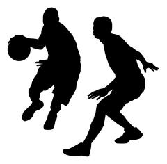 action basketball silhouette - stock illustration