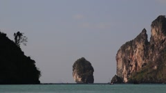 Rocky coast line of Phi Phi islands, Thailand Stock Footage