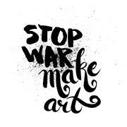 Stop war. Handdrawn brush ink lettering - stock illustration