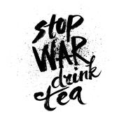 Stop war. Handdrawn brush ink lettering - stock illustration
