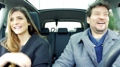 Man and woman first date talking driving car 4K Stock Footage