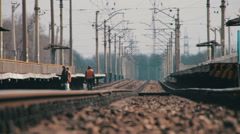 Rails for Rail Road Trains and Mirage Stock Footage