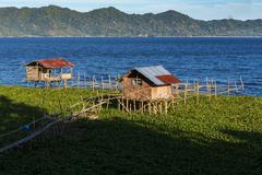 Fish farm at Lake Tondano - stock photo
