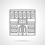 Library facade flat line vector icon - stock illustration