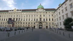 Stock Video Footage of Walking and driving in the Swiss Court at Hofburg Palace, Vienna