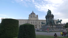 Museum of Art History seen and Maria Theresa monument, Vienna Stock Footage