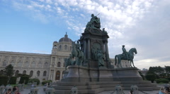View of Maria Theresa Monument in Vienna Stock Footage
