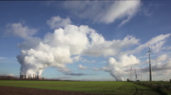 Power plant and wind turbines Stock Footage