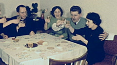 Austria 1964: family having lunch at home Stock Footage