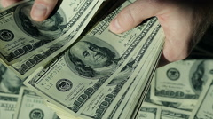 Closeup Man Hands Count Money.100$ Banknotes. Stock Footage