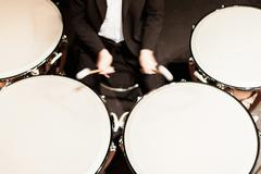 Timpani player in orchestra Stock Photos